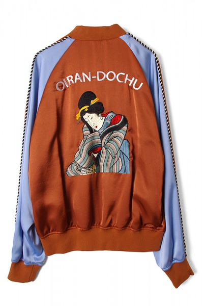 ◆50%OFF◆【CHRISTIAN DADA】OIRAN Embroidered Signature Souvenir Jacket/BRN x BLU