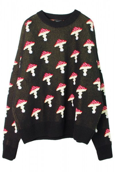 【ANTON LISIN】Knitted sweater Mushroom/Black