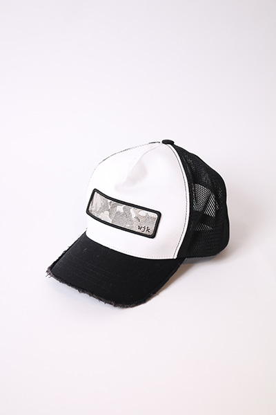 wjk(ダブルジェイケー)|cut-off mesh cap (camo embroidery) white × blk