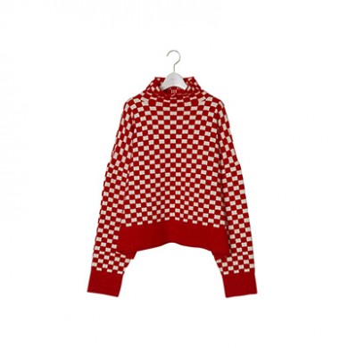 30% OFF|NEONSIGN(ネオンサイン)|Bottle Neck Checkered Flag Sweater RED